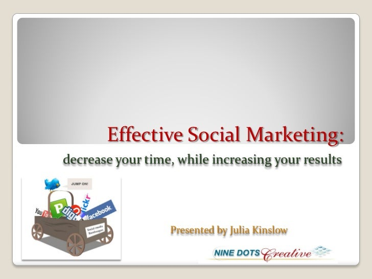 Effective Social Marketing:decrease your time, while increasing your results                  Presented by Julia Kinslow
