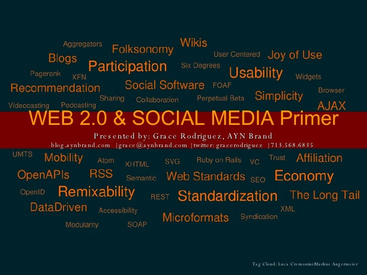 WEB 2.0 & SOCIAL MEDIA Primer Presented by: Grace Rodriguez, AYN Brand blog.aynbrand.com    grace@aynbrand.com   twitter: ...