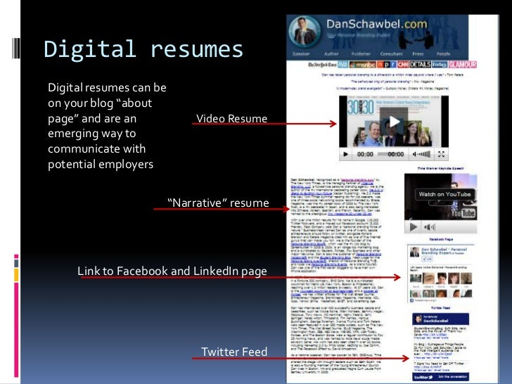 """Digital resumes <br />Digital resumes can be on your blog """"about page"""" and are an emerging way to communicate with potenti..."""