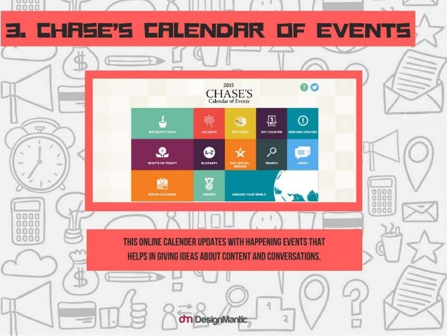 CHASE'S CALENDAR OF EVENTS: This online calendar updates with happening events tha t helps in giving ideas about content a...
