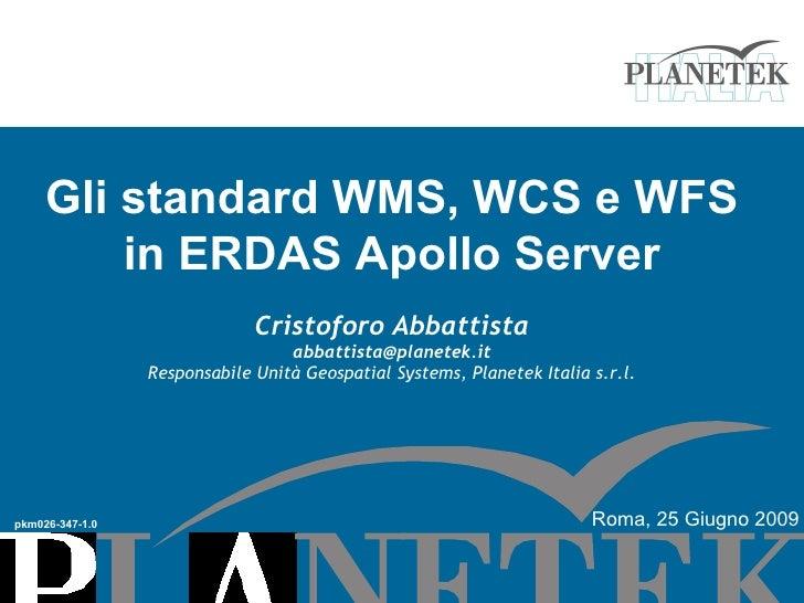 Gli standard WMS, WCS e WFS          in ERDAS Apollo Server                               Cristoforo Abbattista           ...