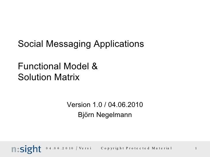 Social Messaging Applications Functional Model & Solution Matrix Version 1.0 / 04.06.2010 Björn Negelmann