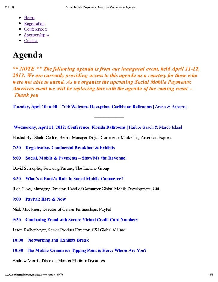 Social Mobile Payments: Conference Agenda - April 11-12, 2012