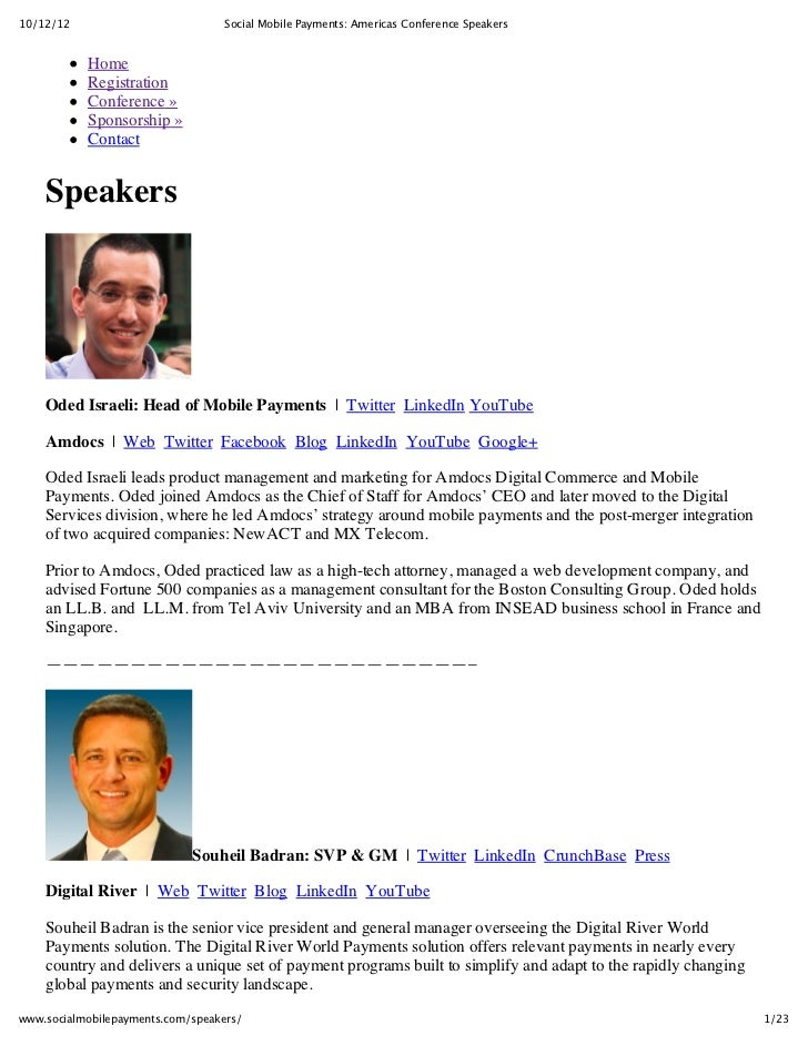 10/12/12                           Social Mobile Payments: Americas Conference Speakers           Home           Registrat...