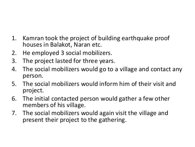 1. Kamran took the project of building earthquake proofhouses in Balakot, Naran etc.2. He employed 3 social mobilizers.3. ...