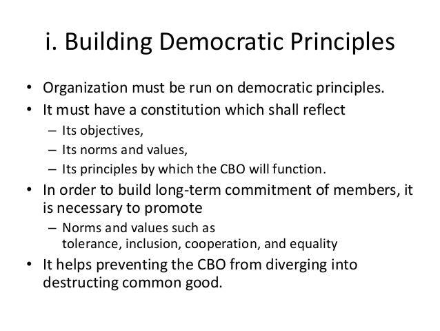i. Building Democratic Principles• Organization must be run on democratic principles.• It must have a constitution which s...