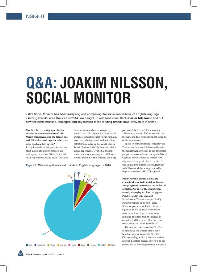 INSIGHT 60 iGB Affiliate Issue 51 JUNE/JULY 2015 iGB's Social Monitor has been analysing and comparing the social media bu...