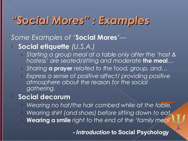 Social Mores Social Psychology Self And Identity
