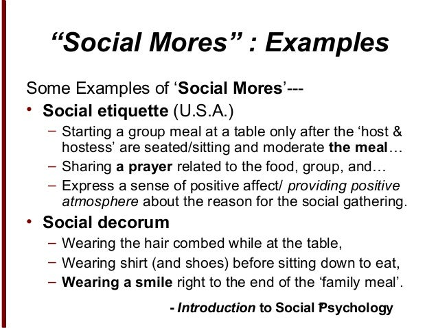 what is the definition of mores