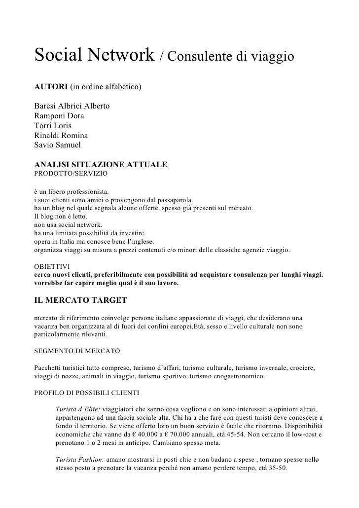 Social Network / Consulente di viaggio AUTORI (in ordine alfabetico)  Baresi Albrici Alberto Ramponi Dora Torri Loris Rina...