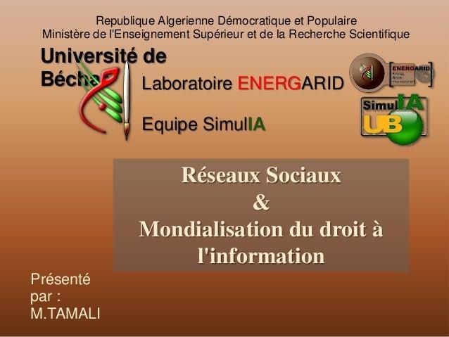 Republique Algerienne Démocratique et PopulaireMinistère de lEnseignement Supérieur et de la Recherche ScientifiqueLaborat...