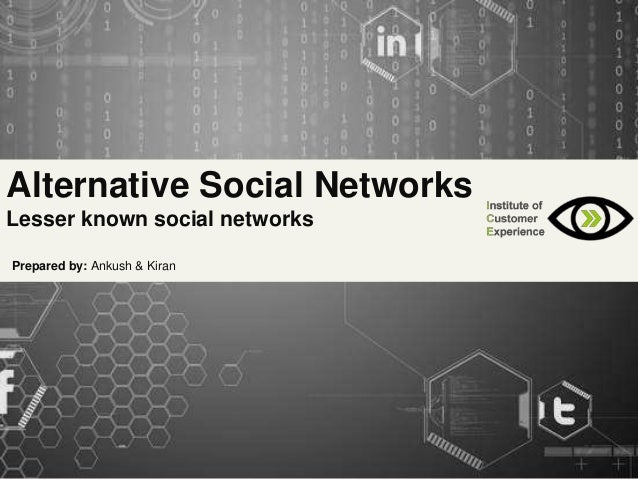 Alternative Social Networks Lesser known social networks Prepared by: Ankush & Kiran