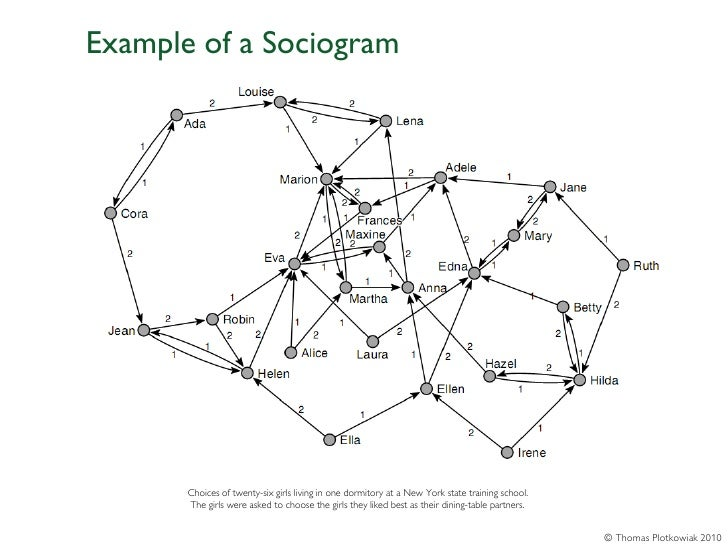 Example of a Sociogram       Choices of twenty-six girls living in one dormitory at a New York state training school.     ...