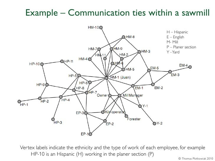 Example – Communication ties within a sawmill                                                                    H – Hispa...