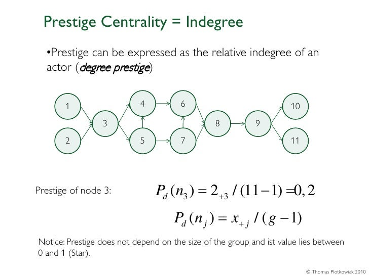 Prestige Centrality = Indegree  •Prestige can be expressed as the relative indegree of an  actor (degree prestige)       1...