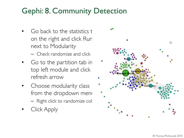 Gephi: 8. Community Detection•   Go back to the statistics tab    on the right and click Run    next to Modularity    – Ch...