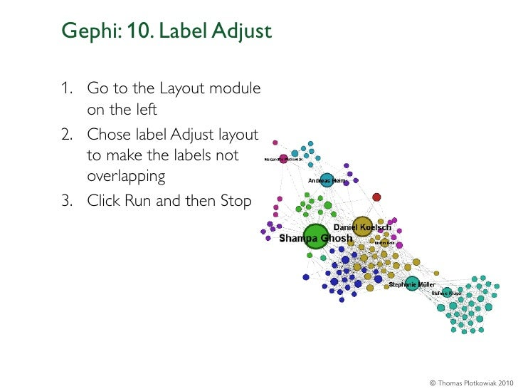 Gephi: 10. Label Adjust1. Go to the Layout module   on the left2. Chose label Adjust layout   to make the labels not   ove...