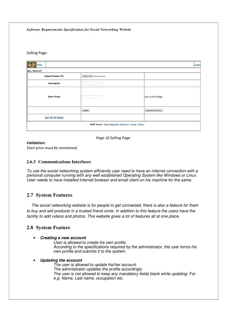 Software Requirements Specification for Social Networking WebsiteSelling Page:                                           P...