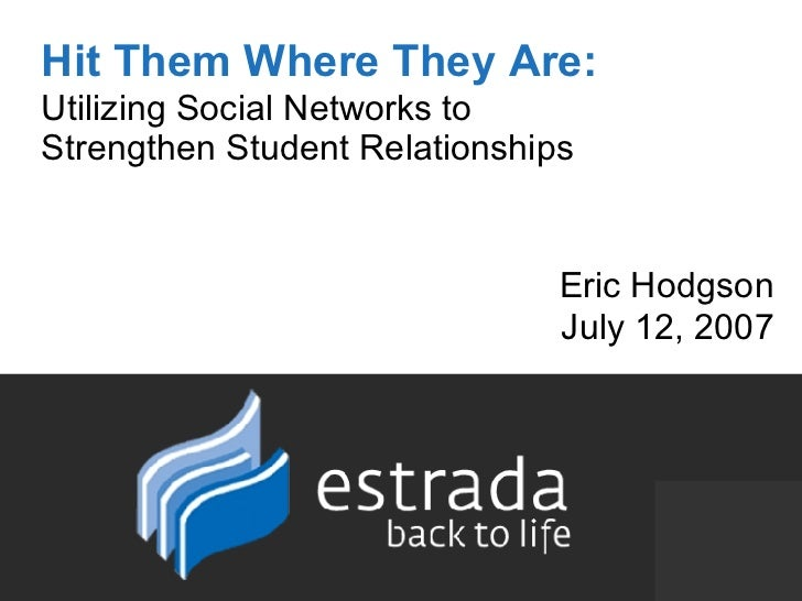 Hit Them Where They Are:   Utilizing Social Networks to  Strengthen Student Relationships Eric Hodgson July 12, 2007