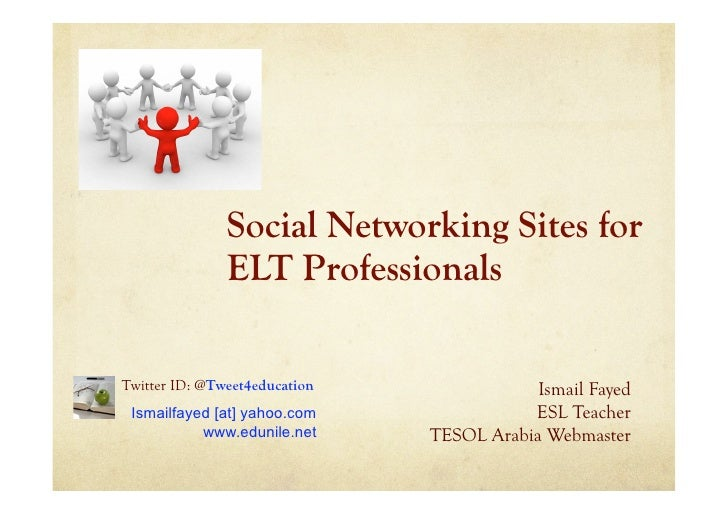 Social Networking Sites for                ELT Professionals  Twitter ID: @Tweet4education               Ismail Fayed  Ism...