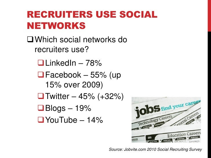 EMPLOYERS USE SOCIAL NETWORKS  Social networks lead all   other recruiting channels   for planned investment by   employe...