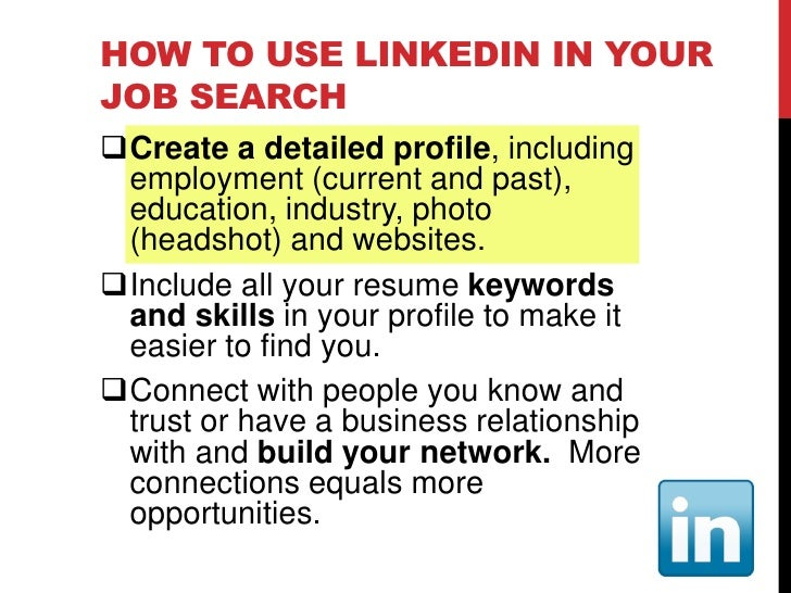 HOW TO USE FACEBOOK IN YOUR JOB SEARCH  Make a decision – keep Facebook social   or expand your use  Create a simple pro...