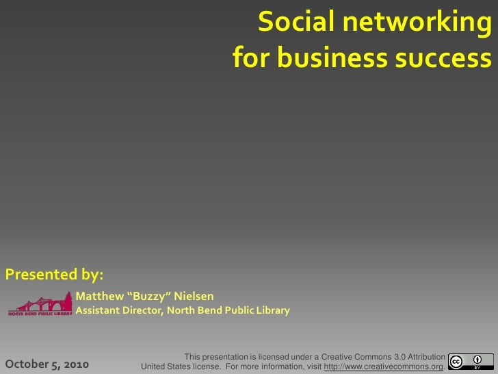 Social networking                                                  for business success     Presented by:             Matt...