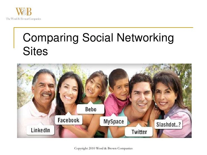 Copyright 2010 Word & Brown Companies<br />Comparing Social Networking Sites<br />