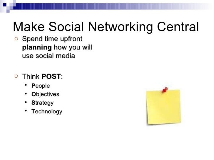 Make Social Networking Central <ul><li>Spend time upfront  planning  how you will use social media </li></ul><ul><li>Think...