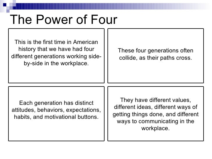 The Power of Four This is the first time in American history that we have had four different generations working side-by-s...
