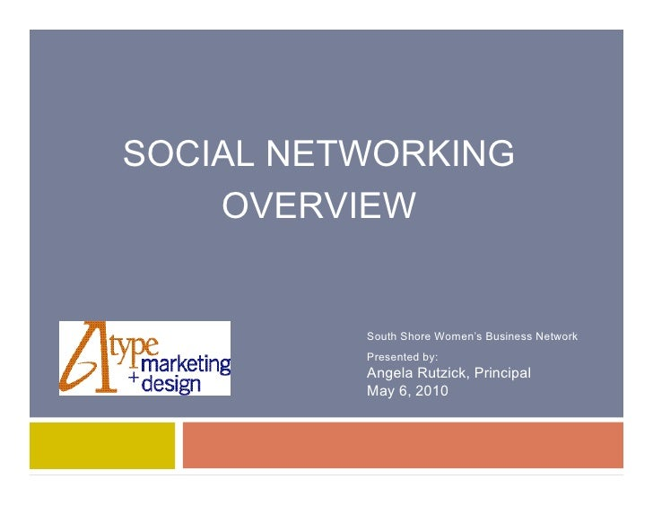 SOCIAL NETWORKING     OVERVIEW             South Shore Women's Business Network           Presented by:           Angela R...