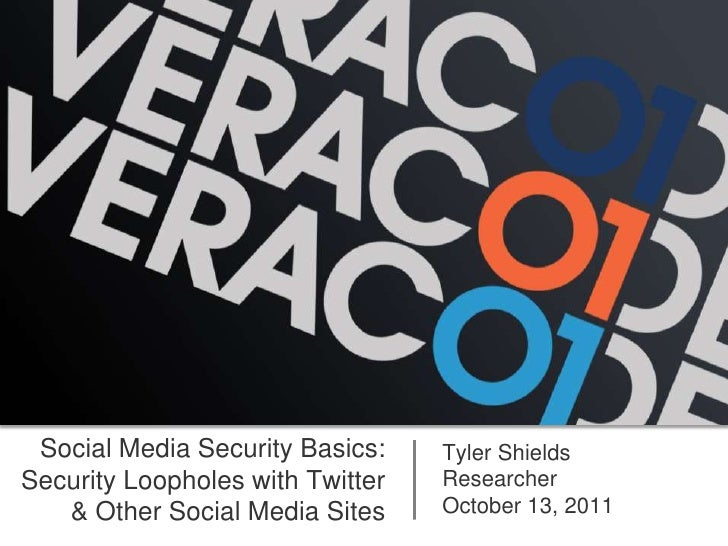 Social Media Security Basics:    Tyler ShieldsSecurity Loopholes with Twitter   Researcher   & Other Social Media Sites   ...