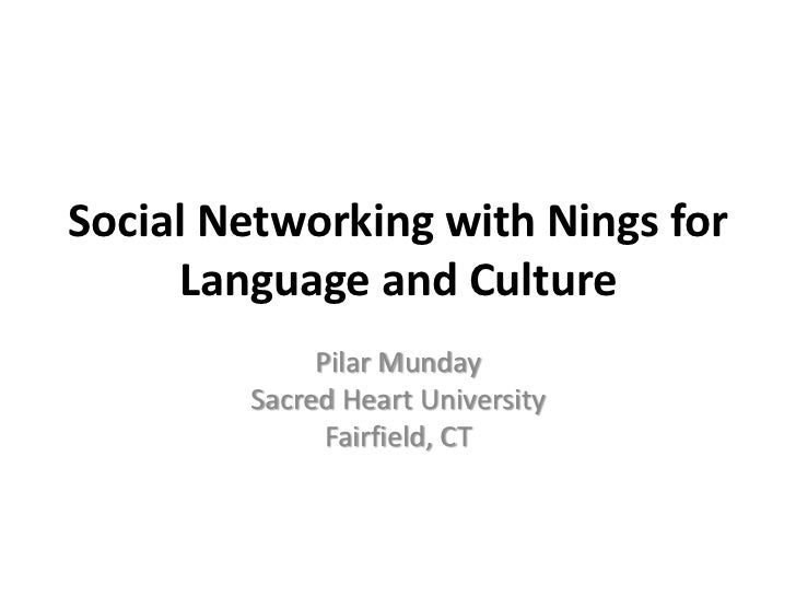 Social Networking with Nings for Language and Culture<br />PilarMunday<br />Sacred Heart University<br />Fairfield, CT<br />
