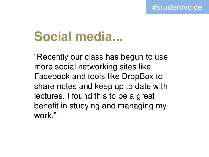 """#studentvoiceSocial media...""""Recently our class has begun to usemore social networking sites likeFacebook and tools like D..."""