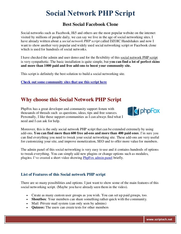 Social Network PHP Script                               Best Social Facebook CloneSocial networks such as Facebook, Hi5 an...