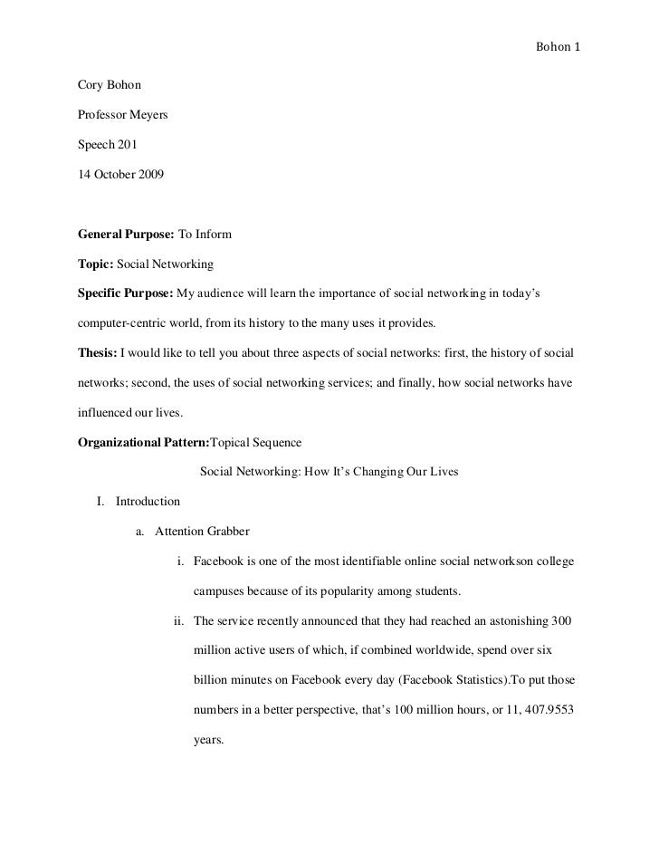 social networking informative speech - Example Informative Essay