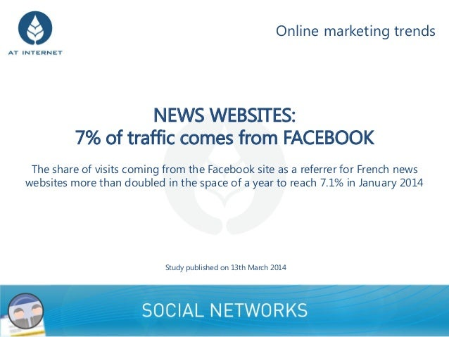 NEWS WEBSITES: 7% of traffic comes from FACEBOOK The share of visits coming from the Facebook site as a referrer for Frenc...