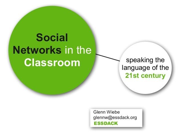 Social Networks in the Classroom speaking the language of the 21st century Glenn Wiebe glennw@essdack.org ESSDACK
