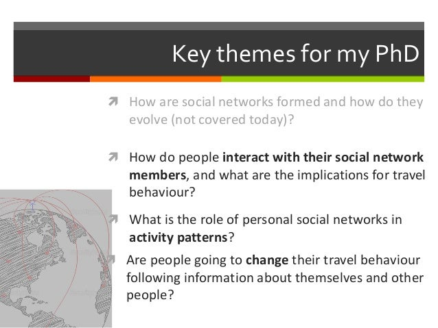 Key themes for my PhD  How do people interact with their social network members, and what are the implications for travel...