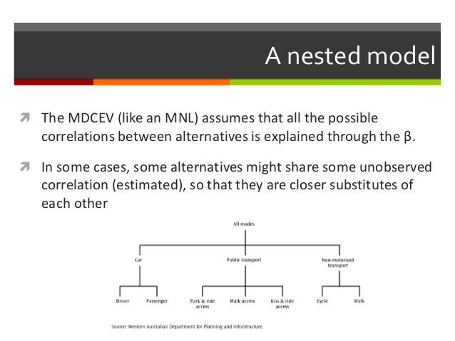 A nested model  The MDCEV (like an MNL) assumes that all the possible correlations between alternatives is explained thro...