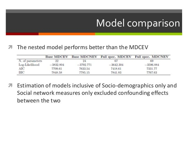 Model comparison  The nested model performs better than the MDCEV  Estimation of models inclusive of Socio-demographics ...