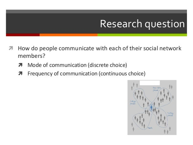 Research question  How do people communicate with each of their social network members?  Mode of communication (discrete...