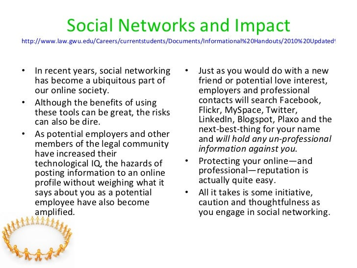 Social Networks and Impact http://www.law.gwu.edu/Careers/currentstudents/Documents/Informational%20Handouts/2010%20Update...