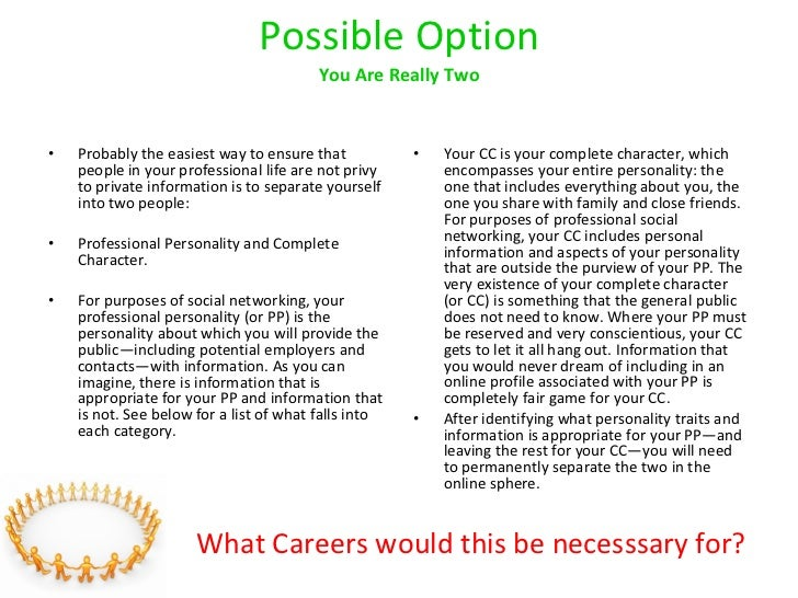 Possible Option You Are Really Two <ul><li>Probably the easiest way to ensure that people in your professional life are no...