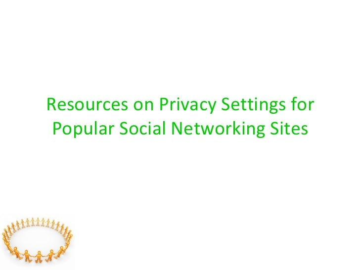 Resources on Privacy Settings for Popular Social Networking Sites