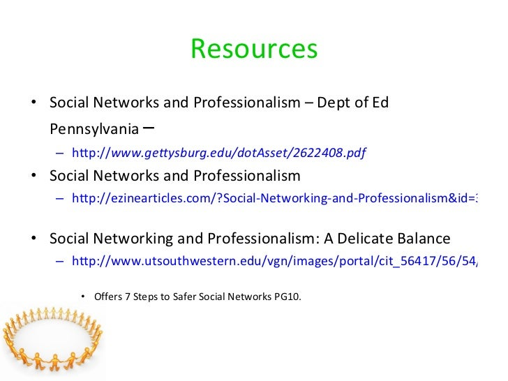 Resources <ul><li>Social Networks and Professionalism – Dept of Ed Pennsylvania  –  </li></ul><ul><ul><li>http:// www.gett...
