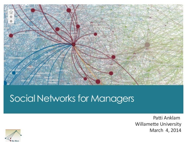 Social Networks for Managers Patti Anklam Willamette University March 4, 2014