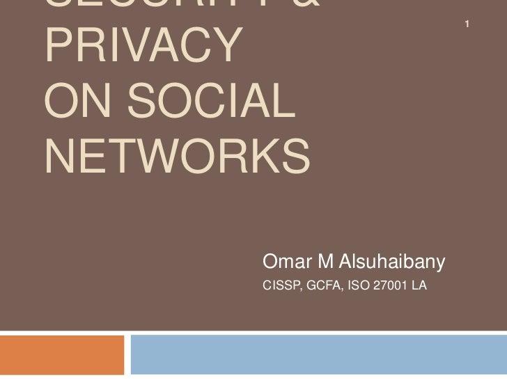 SECURITY &                         1PRIVACYON SOCIALNETWORKS       Omar M Alsuhaibany       CISSP, GCFA, ISO 27001 LA