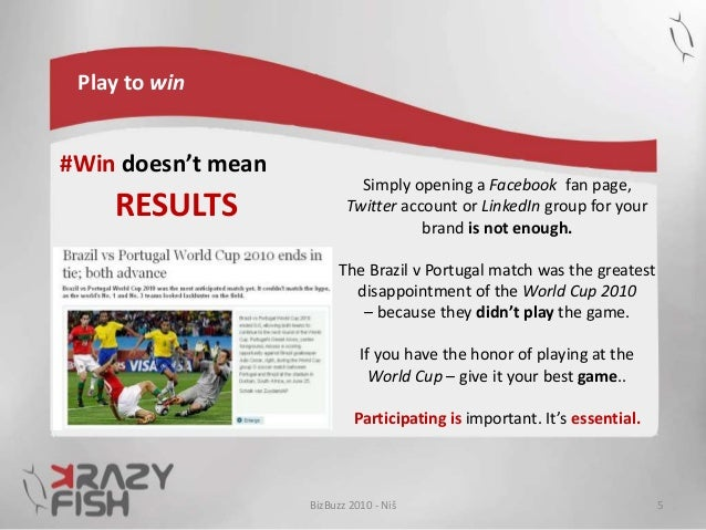 Play to win #Win doesn't mean RESULTS BizBuzz 2010 - Niš 5 Simply opening a Facebook fan page, Twitter account or LinkedIn...