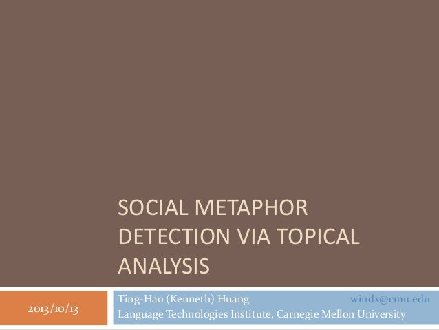 SOCIAL METAPHOR DETECTION VIA TOPICAL ANALYSIS Ting-Hao (Kenneth) Huang windx@cmu.edu Language Technologies Institute, Car...